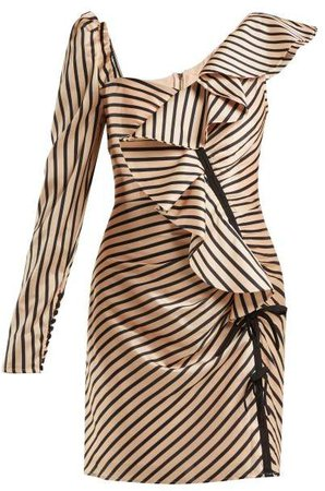 Self Portrait Asymmetric Striped Satin Mini Dress - Womens - Black Gold