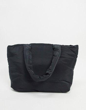 ASOS DESIGN nylon puffed tote in black | ASOS