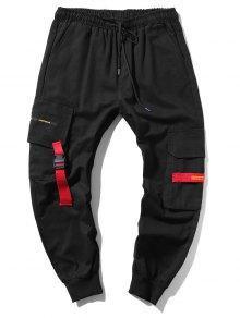 Applique Long Cargo Jogger Pants In BLACK | ZAFUL