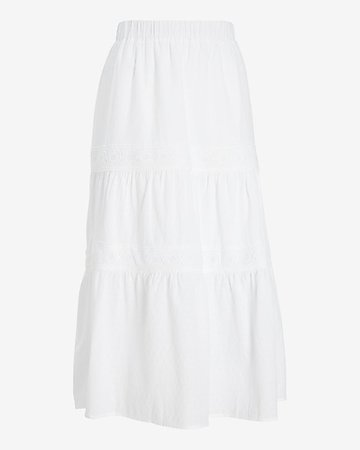 High Waisted Embroidered Tiered Midi Skirt | Express