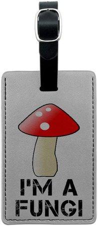 Amazon.com   Graphics & More I'm a Fungi-Fun Guy Fungus Mushroom Leather Luggage Id Tag Suitcase Carry-on, Black   Luggage Tags
