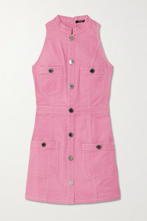 Button-embellished Denim Mini Dress - Pink