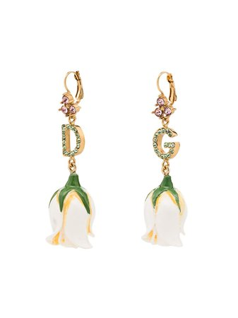 Dolce & Gabbana clip-on Drop Rose Motif Earrings - Farfetch