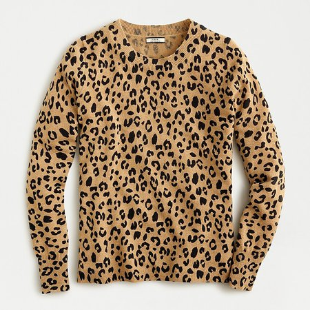 J.Crew: Long-sleeve Cashmere Crewneck Sweater In Leopard Print brown