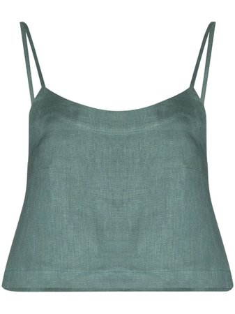 Green Bondi Born cropped linen camisole RTW215JL - Farfetch