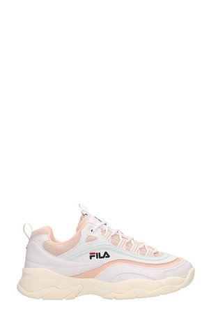 Fila White And Pink Leather Ray Low Sneakers