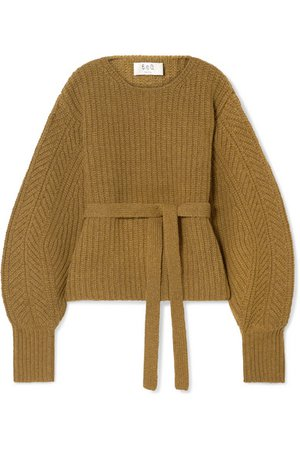 SEA | Nellie belted ribbed wool sweater | NET-A-PORTER.COM
