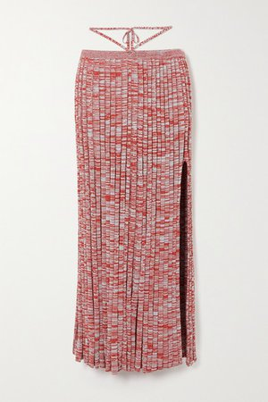Tie-detailed Melange Ribbed-knit Maxi Skirt - Red
