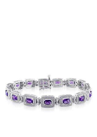 Belk & Co. Sterling Silver Amethyst and Diamond Bracelet