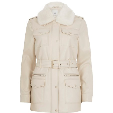 Cream faux leather utility army jacket | River Island