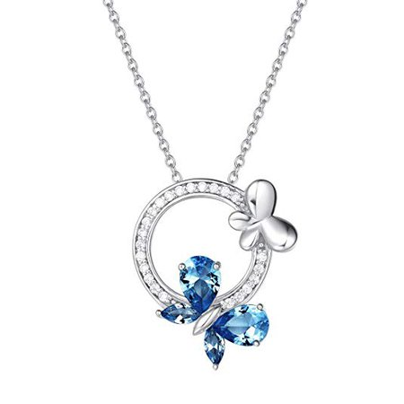 """Amazon.com: Fancime 925 Sterling Silver Butterfly Round Circle Necklace Synthetic Blue Spinel Danity Cubic Zirconia CZ Pendant Jewelry for Women Girls 18"""": Jewelry"""