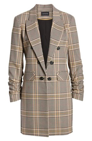1.STATE Ruched Sleeve Plaid Blazer brown