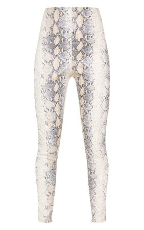 White Snakeskin Faux Leather Pants | PrettyLittleThing USA
