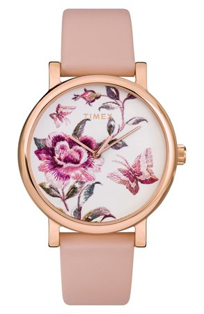 Timex® Full Bloom Leather Strap Watch, 38mm | Nordstrom
