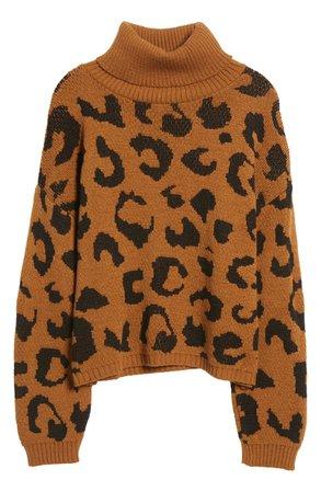 Cotton Emporium Leopard Pattern Turtleneck Sweater | Nordstrom