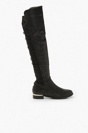 Lace Back Knee Boots | Boohoo black