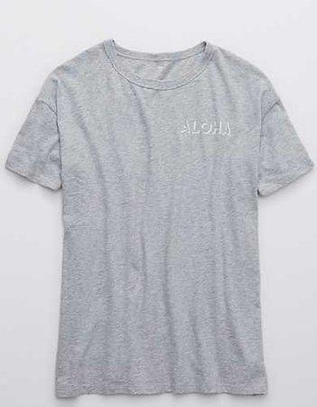 Aerie Boyfriend Distressed Oversized T-Shirt grey