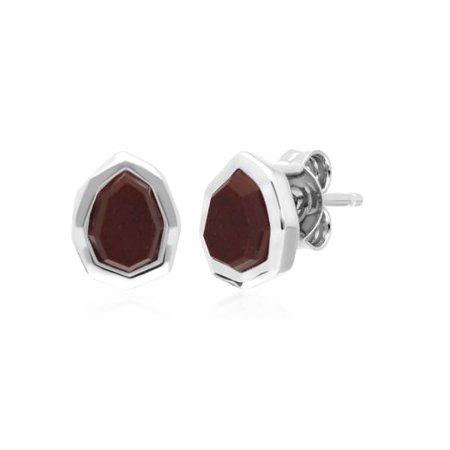 Irregular Red Jasper Stud Earrings | Gemondo | Wolf & Badger