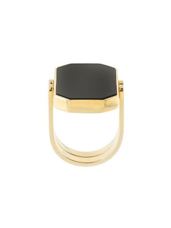 Gold & black Julia Davidian convertible octagonal ring - Farfetch