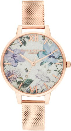 Bejewelled Floral Mesh Strap Watch, 34mm