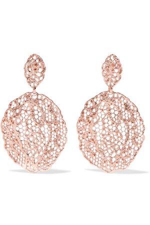 AURÉLIE BIDERMANN Lace rose gold-plated earrings