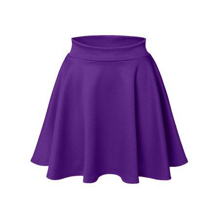 Luna Flower - Luna Flower Women's Basic Versatile Stretchy Flared Skater Skirt DARK_PURPLE XX-Large (LFWSK0009) - Walmart.com