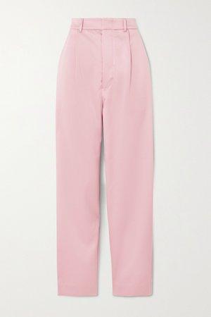 Pastel pink Elsie satin straight-leg pants | MUNTHE | NET-A-PORTER