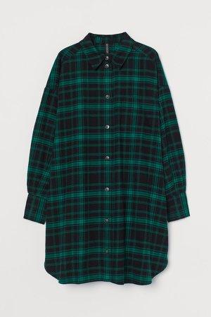 Cotton Shirt Dress - Green