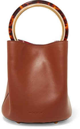 Pannier Leather Bucket Bag - Brown