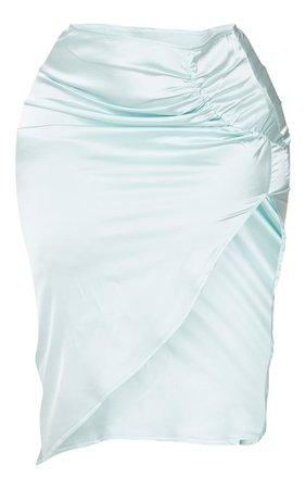 Blue Satin Ruching Split Midi Skirt