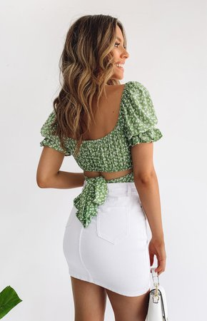 Heritage Wrap Top Green Print – Beginning Boutique