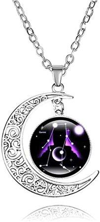 XIANNVXI 2021 Fashionable Jewelry 12 Constellation Crescent Moon Pendant Necklace Galaxy Zodiac Astrology Horoscope Glass Charm Necklaces for Women Men-Gemini | Amazon.com
