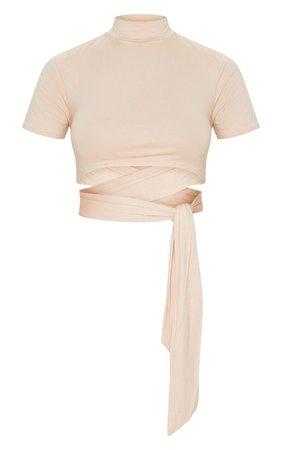 Khaki High Neck Tie Crop T Shirt | Tops | PrettyLittleThing USA