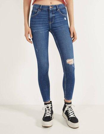 Mid waist skinny jeans - Bershka