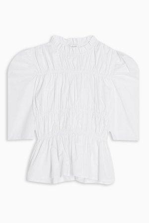 White Shirred Poplin Blouse | Topshop