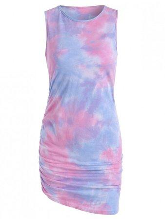 [37% OFF] [HOT] 2020 Tie Dye Draped Tank Dress In LIGHT PINK | ZAFUL