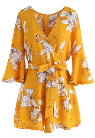 Bold Blooms Floral Wrapped Playsuit in Yellow - Retro, Indie and Unique Fashion