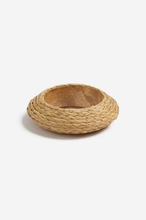 **Wooden Raffia Bangle | Topshop