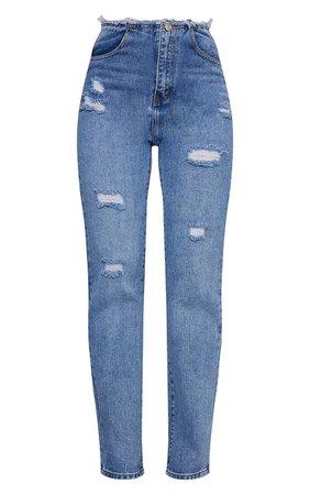 Light Blue Wash Raw Waistband Distressed Long Leg Straight Jeans   PrettyLittleThing USA