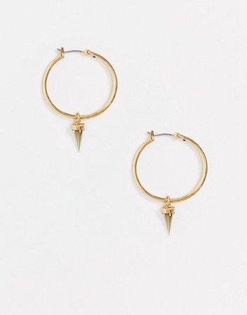 AllSaints stone drop hoop earrings in gold | ASOS
