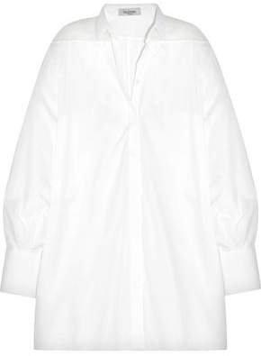 Oversized Organza-paneled Cotton-pique Shirt