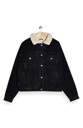 Topshop Faux Shearling Trim Denim Jacket | Nordstrom