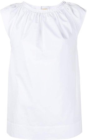 pleated front short-sleeved T-shirt