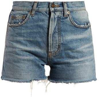 Raw Hem Denim Shorts - Womens - Denim