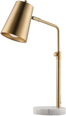 CO-Z Gold Desk Lamp with LED Bulb Adjustable, Antique Brass Metal Table Lamp Marble Base, Mid Century Modern Reading Lamp Office, 20'' Industrial Task Lamp Work Lamp for Reading Bedroom Living Room. - - Amazon.com