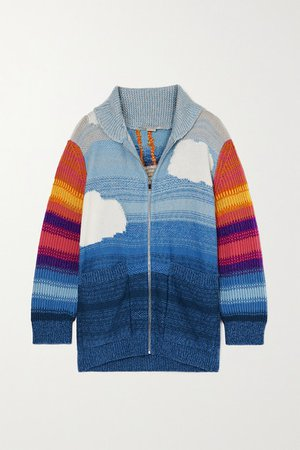 Kind Intarsia Wool And Cotton-blend Cardigan - Blue