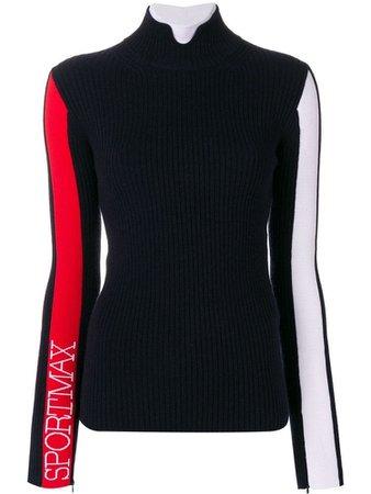 SPORTMAX turtleneck logo sleeve sweater