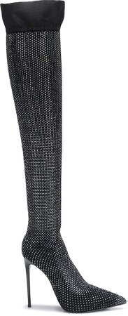 Embellished Thigh-High Boots