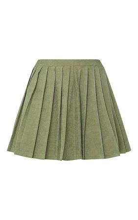 Khaki Cord Pleated Skater Skirt | Skirts | PrettyLittleThing USA