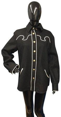 Moschino - black/white trim button-down western style shirt